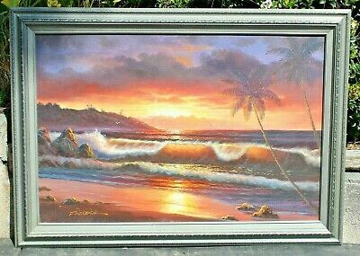 "Vtg Oil Painting on Canvas, ""Sunset in Paradise"" in Wood Frame & Signed"
