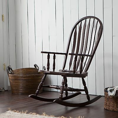 Brown Windsor Slat Back Rocking Chair Home Living Room Bedroom Seating Furniture