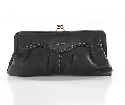 CHARLES DAVID Collection Lydia Black Leather Frame Kiss-Lock Clutch NWOT