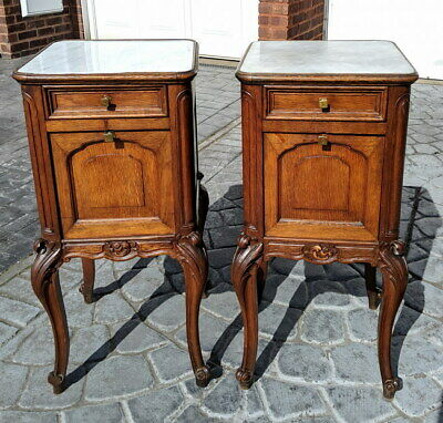 Rare Carved French Antique Pair Bedside Tables Cupboard Cabinet With Marble Tops