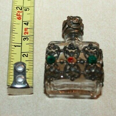 Vintage Made in France micro mini perfume bottles ornate silver faux jewels