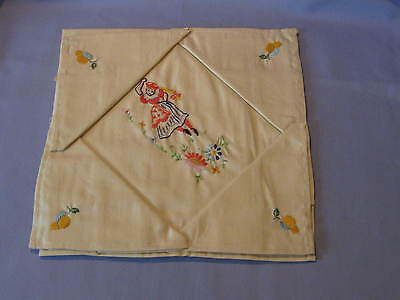Vintage Set Of 4 Napkins And Tablecloth ? Hand Decorated Never Used