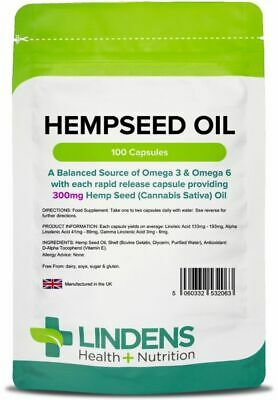 Hempseed Oil 300mg 100 Capsules Hemp seed Fatty Acid Supplement Health Lindens