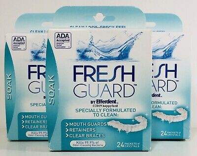 Fresh Guard Soak for Mouth Guards, Retainers & Clear Braces 24 Packets X3 Boxes