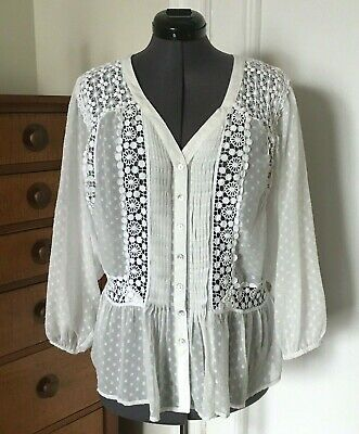 39c4f92dfd714a Anthropologie White Sheer Polka Dot Lace Long Sleeve Blouse Meadow Rue Sz L