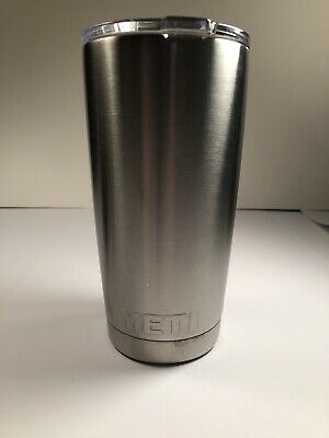 YETI TUMBLER RAMBLER 20 Oz Silver Stainless Steel Vacuum Insulated With Lid