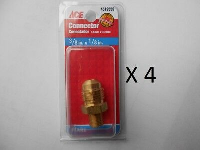 "ACE Hose or pipe Connection 3/8"" Male Flare x1/8"" MPT Male,BRASS,NEW -4 packages"