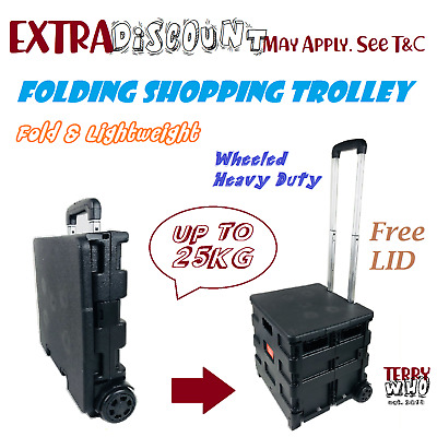Trolley Shopping Cart  Folding Portable Wheeled With Handle & Cover LID