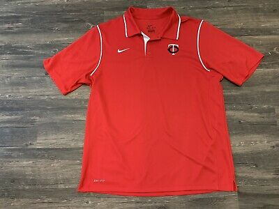 brand new 0fac3 96caa Nike Dri-fit MLB Minnesota Twins Red Polo Mens Size Large