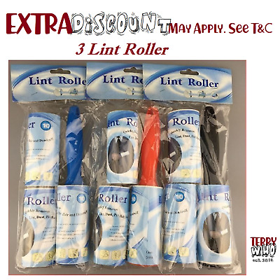 6 Adhesive Sticky with 3 Lint Roller Refill Rolls Fluff Pet Hair Dust Remover