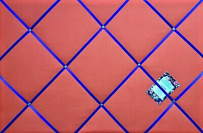 Red with Royal Blue Ribbon Handcrafted Fabric Notice Memory Pin Memo Photo Board