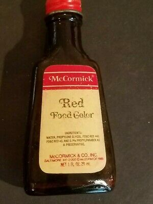 VINTAGE ADVERTISING MCCORMICK Red Food Coloring Glass Bottle
