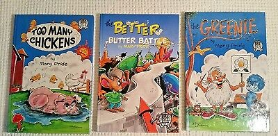 Mary Pride-Too Many Chickens,Greenie,Better Butter Battle-3 Books All First Edit