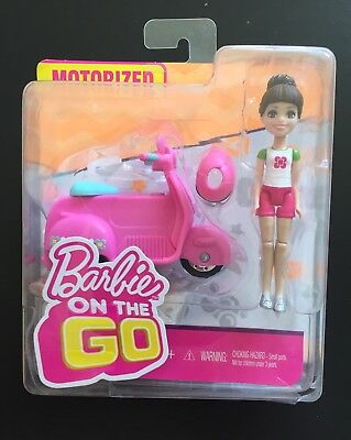 NEW Barbie On The Go Pink Scooter and Doll White and Pink Outfit Motorized *READ