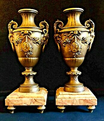 Matched Pair of Antique French Spelter & Sienna Marble Figural Garniture Urns