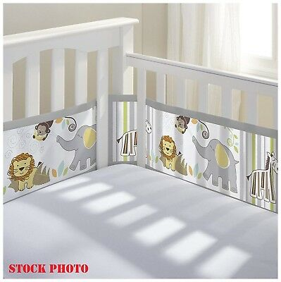 BreathableBaby Breathable Mesh Crib Liner Safari Fun 2 pc Pack Monkeys Elephants