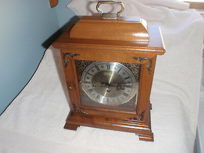 Hamilton Wheatland Westminster Chime Mantel Clock Beautiful! Serviced Walnut