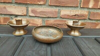 Pair Of Arts and Crafts Roycroft Copper Candle Holders Hammered  Cigar Dish