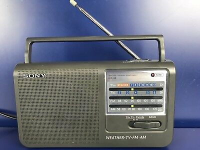 Sony ICF-36 AM FM TV Weather 4 Band AC or Battery Portable Radio Receiver