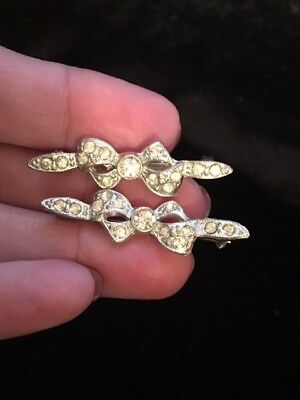 VTG/Antique ART DECO Pair of Rhinestone White Metal BOW Pins Brooches Charming