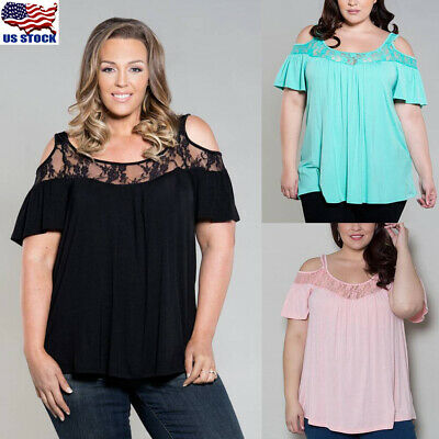 Womens Cold Shoulder Lace Shirt Loose Top Blouse Ladies Summer T-Shirt Plus Size