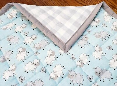 "BOYS BABY//TODDLER  QUILTED BLANKET-GIFTIDEA HOMEMADE /""SEA LIFE/"" 35x42in COTTON"