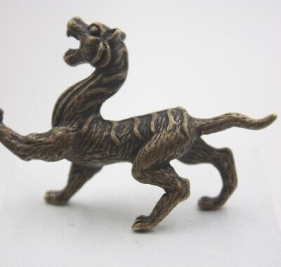 Pure Copper Beast White Tiger Antique Micro-carving Beast Handle Antique Bronze