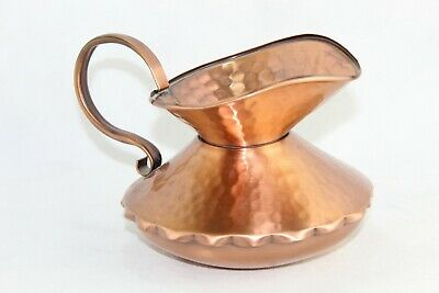 Vintage Solid Copper Hand Hammered Squat Pitcher With Handle Gregorian USA Stamp