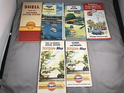 VTG Oil & Gas Maps 1960s Lot of 6 Maps Standard Oil Shell Gulf Enco