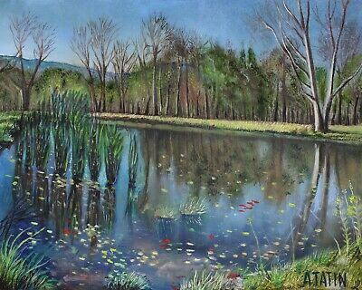 Original Oil Painting Landscape Fine Art A Pond With Grass And Trees 8x10 Tatin