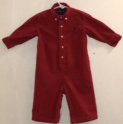 Ralph Lauren Baby Boy 12M One Piece Outfit Long Sleeve/Pants Red Corduroy Logo