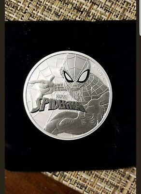 2017 1oz pure .999 silver Tuvalu Spiderman series coin. Free coin case.