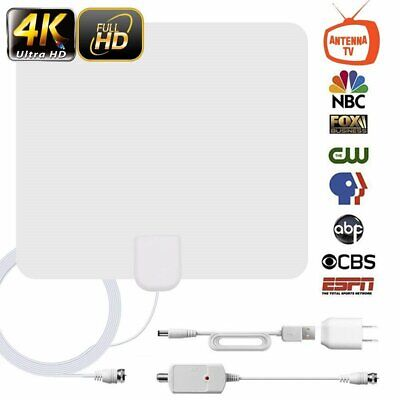 [60 Miles] White Indoor Digital TV HDTV Antenna [2019 New] UHF/VHF 1080P 4K BT