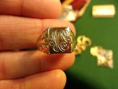 "EXCELLENT OLD VTG ANTIQUE 10K YELLOW GOLD ART DECO SIGNET RING ""MS"" or ""LW"" (OB)"