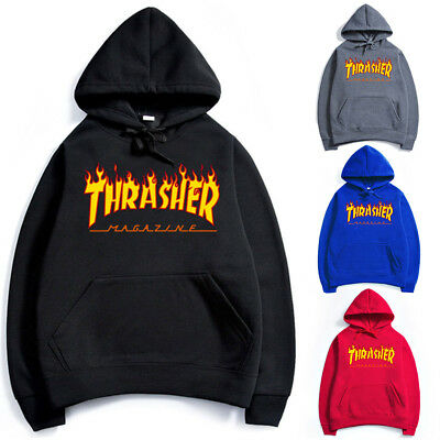Men Women Hip-hop Hoodie Cotton Basic Skateboard Thrasher Sweatshirts Sweater UK