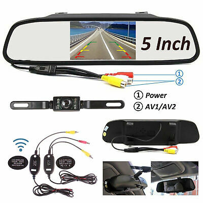 5in LCD TFT Car Rear View Mirror Monitor+Wireless Backup Rear Camera For DVD VCR