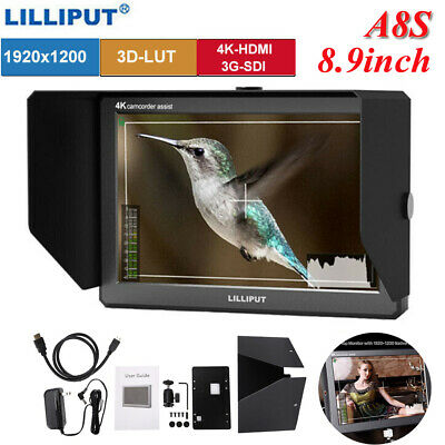 "Lilliput A8S 3G SDI 4K HDMI 8.9"" IPS 1920x1200 8bit On Camera Field DSLR Monitor"
