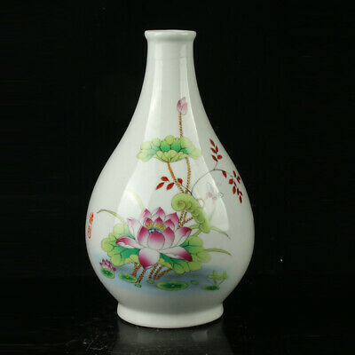 Chinese Porcelain Hand-painted Lotus Vase W Qianlong Mark R1123.a