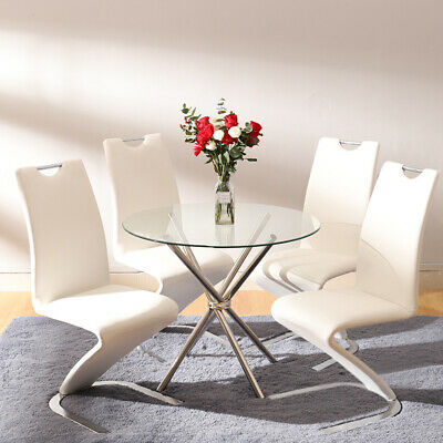 ec83163c8a1 Round Glass Dining Table Dinner Set 2 4 Seats Leather Chairs Chrome Cross  Legs