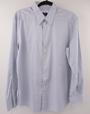 VERSACE COLLECTION Men's Blue/White Pattern Shirt, collar 16""