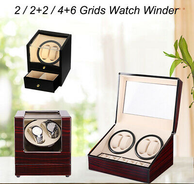 4+6 Grids Luxury Wood Watch Winder Automatic Display Box Storage Case Organizer
