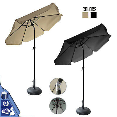 2M Aluminium Tilting Crank Round Parasol Umbrella With 11kg Concrete Base Stand