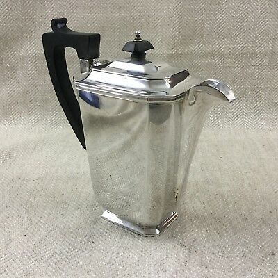 Art Deco Jug Large Silver Plated Geometric Ebony Wooden Handle