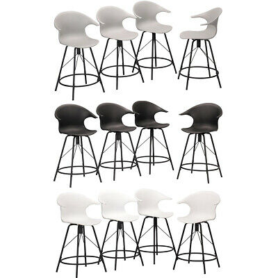 4× Swivel Plastic Bar Stools with Arm Dinning Chairs Counter Height Metal Legs