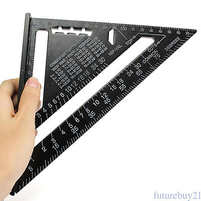 7inch Aluminum Alloy Speed Square Metric System Black Roofing Triangle Ruler FA1