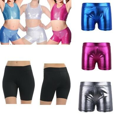 Girls Gym Yoga Hot Pants Shorts Kids Dance Sports Fitness Workout Shiny Bottoms