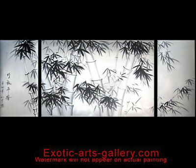 Original Hand Painted oil Canvas Asian Wall Decor Bamboo Painting Abstract Art