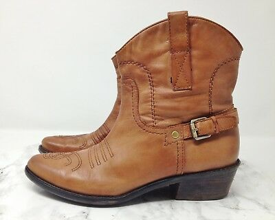 bd8a25ccdeb FRANCO SARTO WACO Tan Leather Western Ankle Cowgirl Boots Size 7M