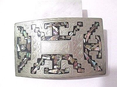 Beautiful Alpaca Mexico Inlay Abalone Belt Buckle Silver Tone Plated Metal Vtg