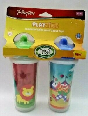 Playtex Crcus Clown 2pk Baby Toddler Insulated Spill-proof Spout Sippy Cups 12M+